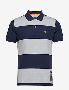 RUGBY STRIPE PERFORMANCE POLO - LT GREY HTR
