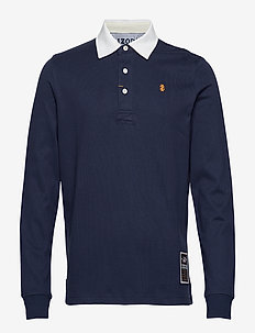 SOLID LONGSLEEVE RUGBY POLO - PEACOAT