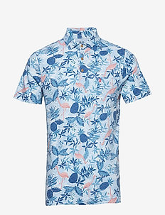 DOCKSIDE FLAMINGO PRINT POLO - BLUE REVIVAL