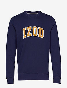 IZOD APPLIQUE FLEECE CREW - overdeler - peacoat