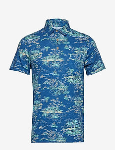 DOCKSIDE ISLAND PRINT POLO - BRIGHT COBALT