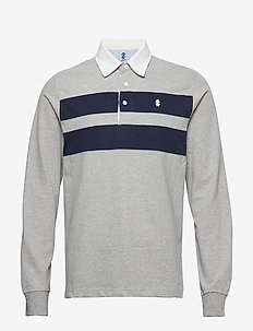 CHEST STRIPE LONSLEEVE RUGBY - LIGHT GREY HTR