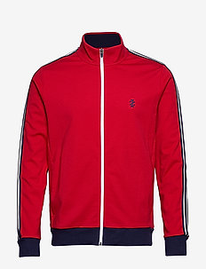 RETRO STRIPE TRACK JACKET - REAL RED