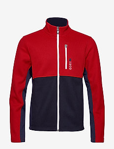 COLORBLOCK SHAKER FLEECE JACKET - REAL RED