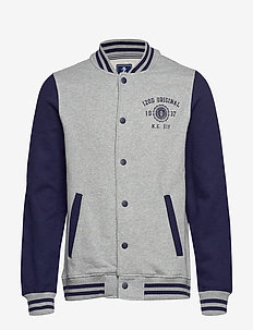 VARSITY FLEECE JACKET - LT GREY HTR