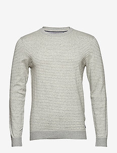 12GG STRIPED CREW NECK SWEATER - LT GREY HTR