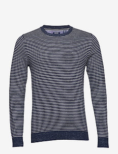 12GG STRIPED CREW NECK SWEATER - NAVY BLAZER