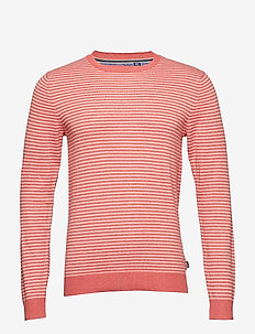 12GG STRIPED CREW NECK SWEATER - SALTWATER RED