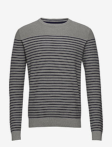 12GG ENGINEERED STRIPE SWEATER - LT GREY HTR