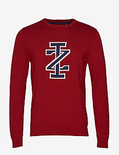 12GG JACQUARD IZ LOGO CREW NECK - BIKING RED