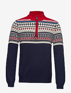 5GG 1/4 ZIP NORTHERN FAIR ISLE - PEACOAT