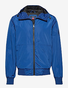 ZIP UP TECHNICAL HOODIE JACKET - TRUE BLUE