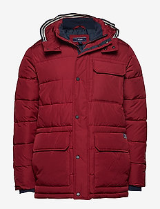 FAUX DOWN HOODED PARKA - BIKING RED
