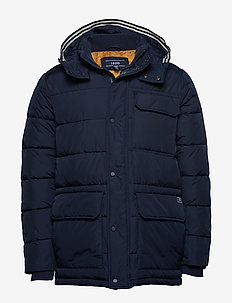 FAUX DOWN HOODED PARKA - NAVY BLAZER