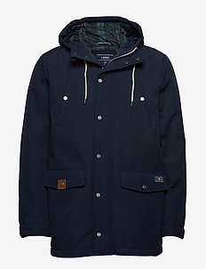 CANVAS HOODED PARKA - parkas - navy blazer