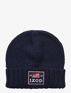 IZOD BADGE BEANIE - luer - peacoat