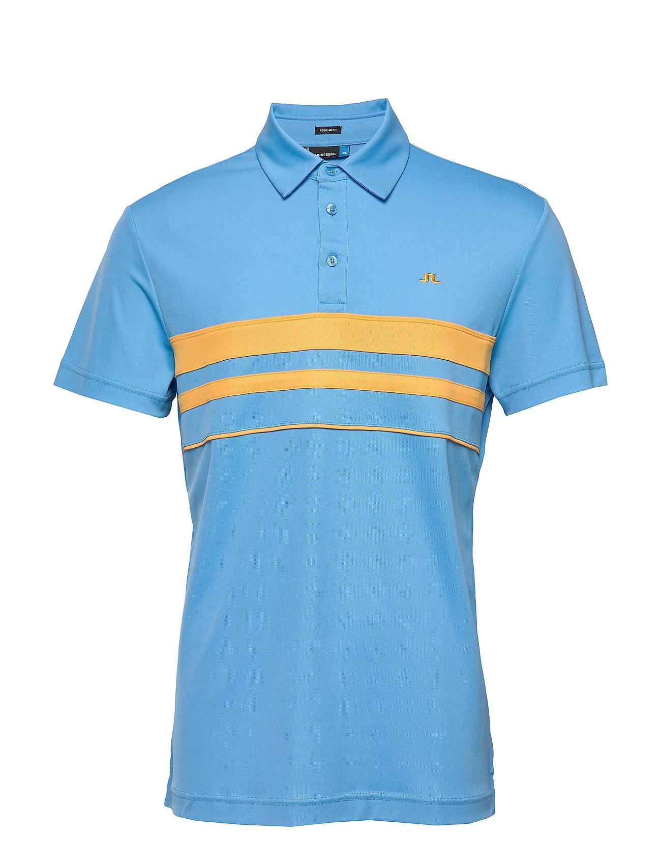 J. Lindeberg Golf M LEO Reg LUX PIQUE - OCEAN BLUE