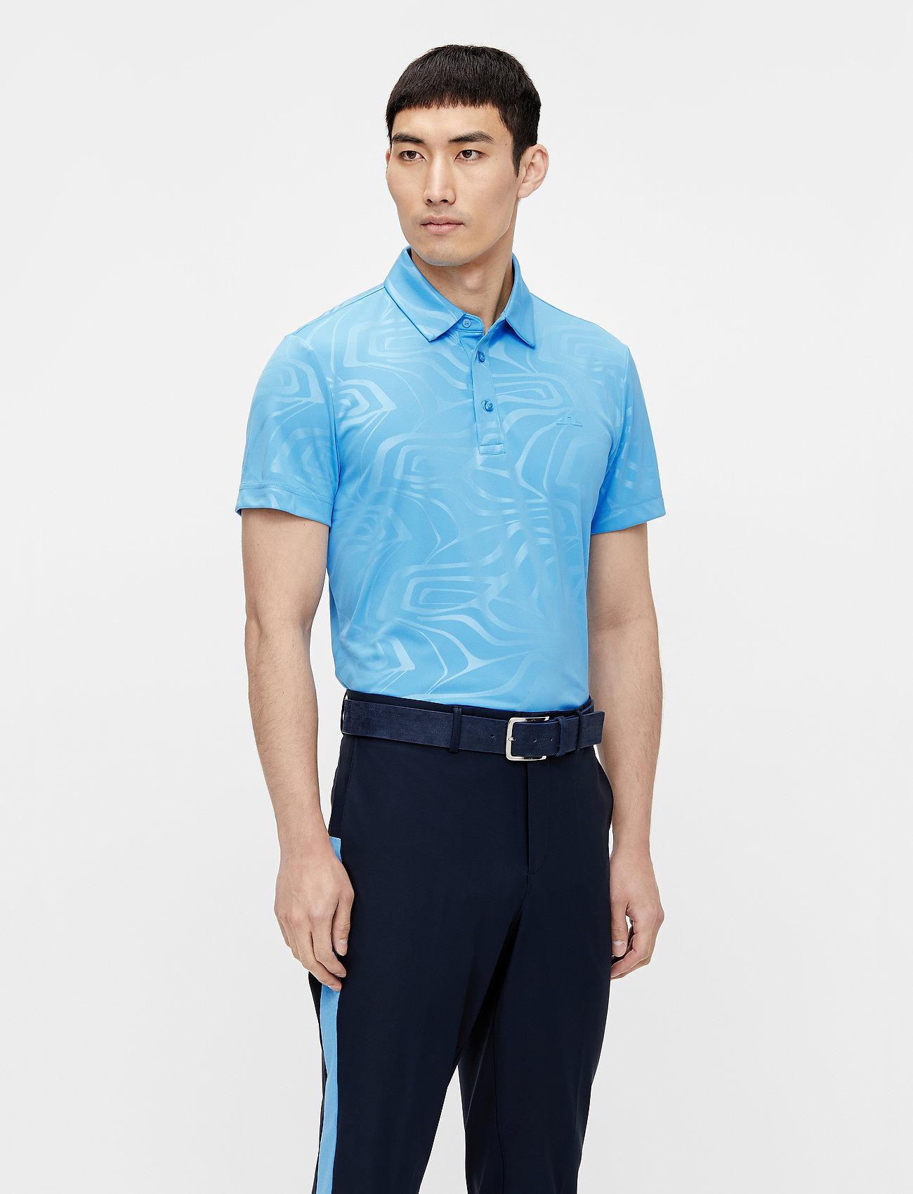 J. Lindeberg Golf - Tony Slim Fit Golf Polo Print - kurzärmelig - neo deboss ocean blue - 0