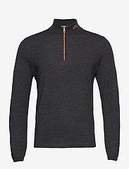 J. Lindeberg Golf - Zam Zipped Golf Sweater - half zip - black melange - 1