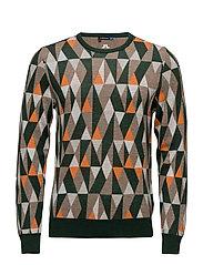 M Argyle Sweater True Merino - DK GREEN
