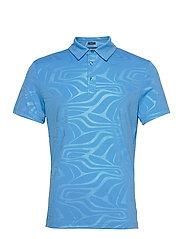 Tony Slim Fit Golf Polo Print - NEO DEBOSS OCEAN BLUE