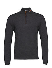 Zam Zipped Golf Sweater - BLACK MELANGE