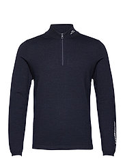 Zam Zipped Golf Sweater - NAVY MELANGE