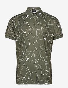 Tour Tech Reg Fit Print Polo - paidat - slit thyme green