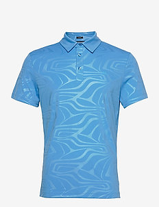 Tony Slim Fit Golf Polo Print - kurzärmelig - neo deboss ocean blue