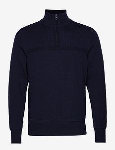 Columba-Virgin Wool - half zip jumpers - jl navy