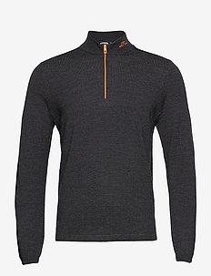Zam Zipped Golf Sweater - kardigany z zamkiem do połowy - black melange