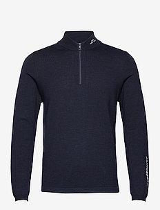 Zam Zipped Golf Sweater - half zip - navy melange