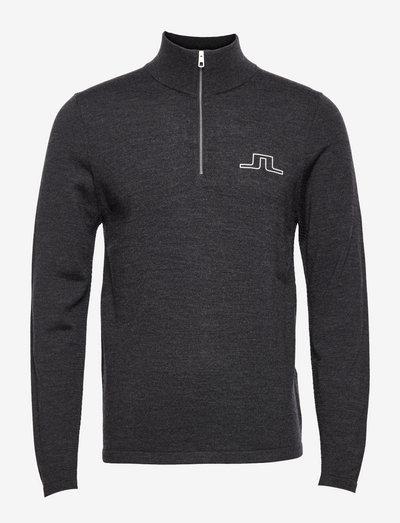 Max Zipped Golf Sweater - half zip - black melange