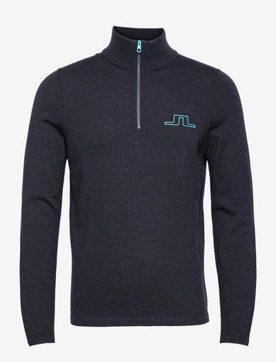 Max Zipped Golf Sweater - half zip - jl navy melange