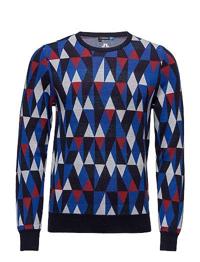 M Argyle Sweater True Merino - NAVY/PURPLE