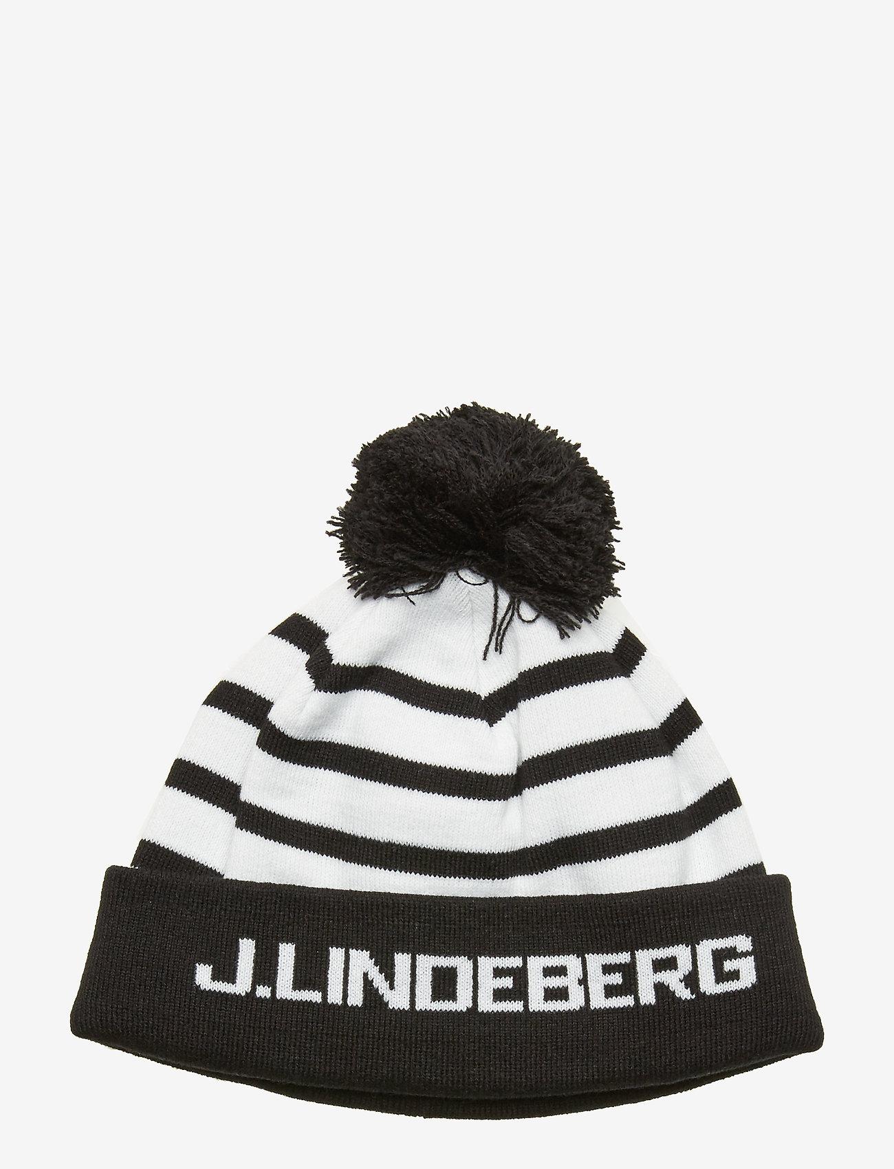 J. Lindeberg Ski - Stripe Ball Beanie-Acrylic - beanies - black - 0