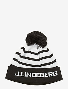 Stripe Ball Beanie-Acrylic - huer - black