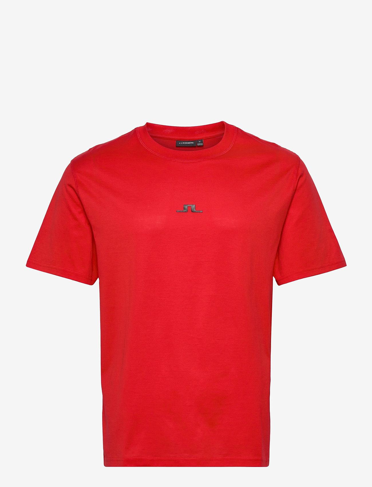 J. Lindeberg - Jordan Bridge t-shirt cotton - basic t-shirts - racing red - 0