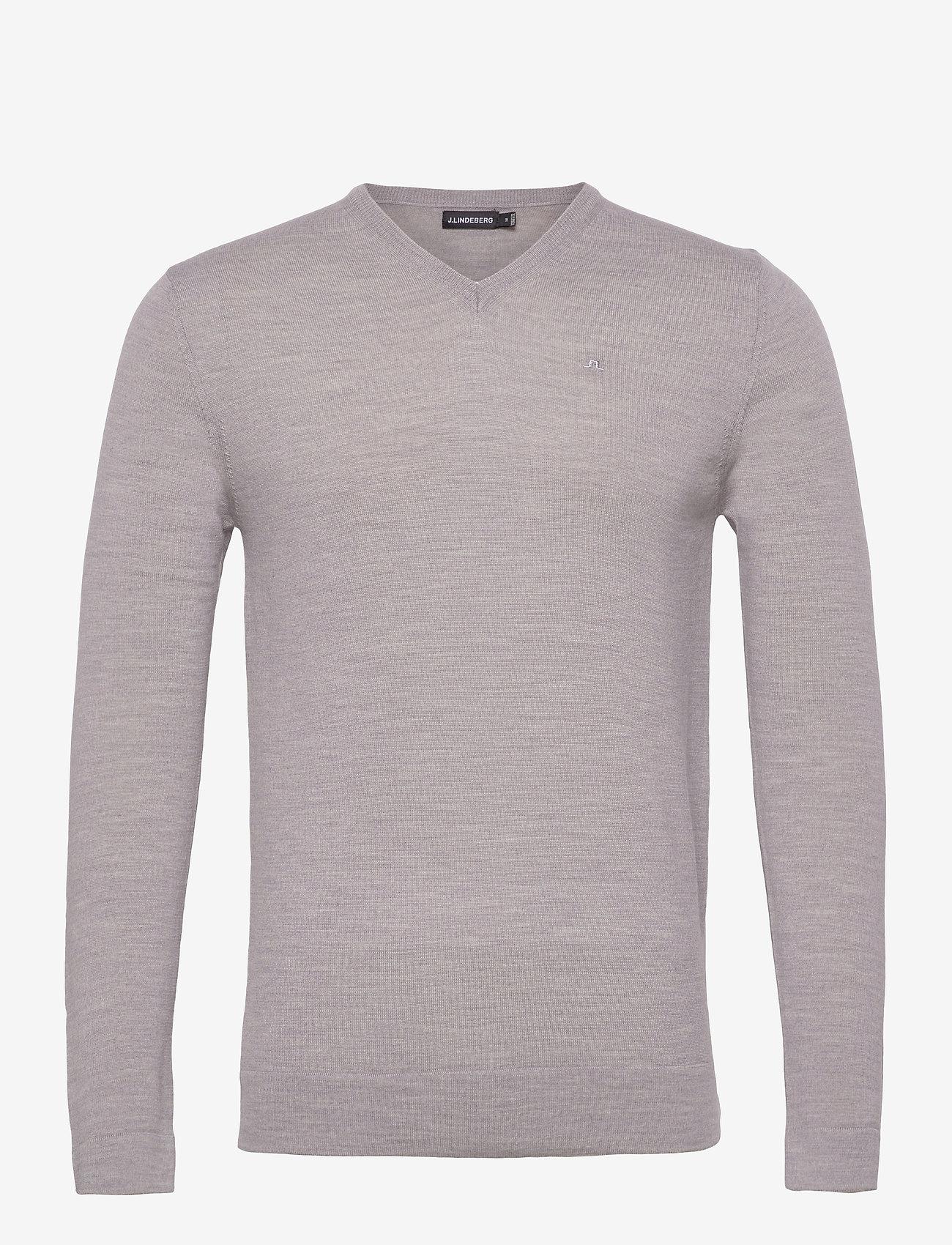 J. Lindeberg - Newman Merino V-neck - basic-strickmode - stone grey melange - 1