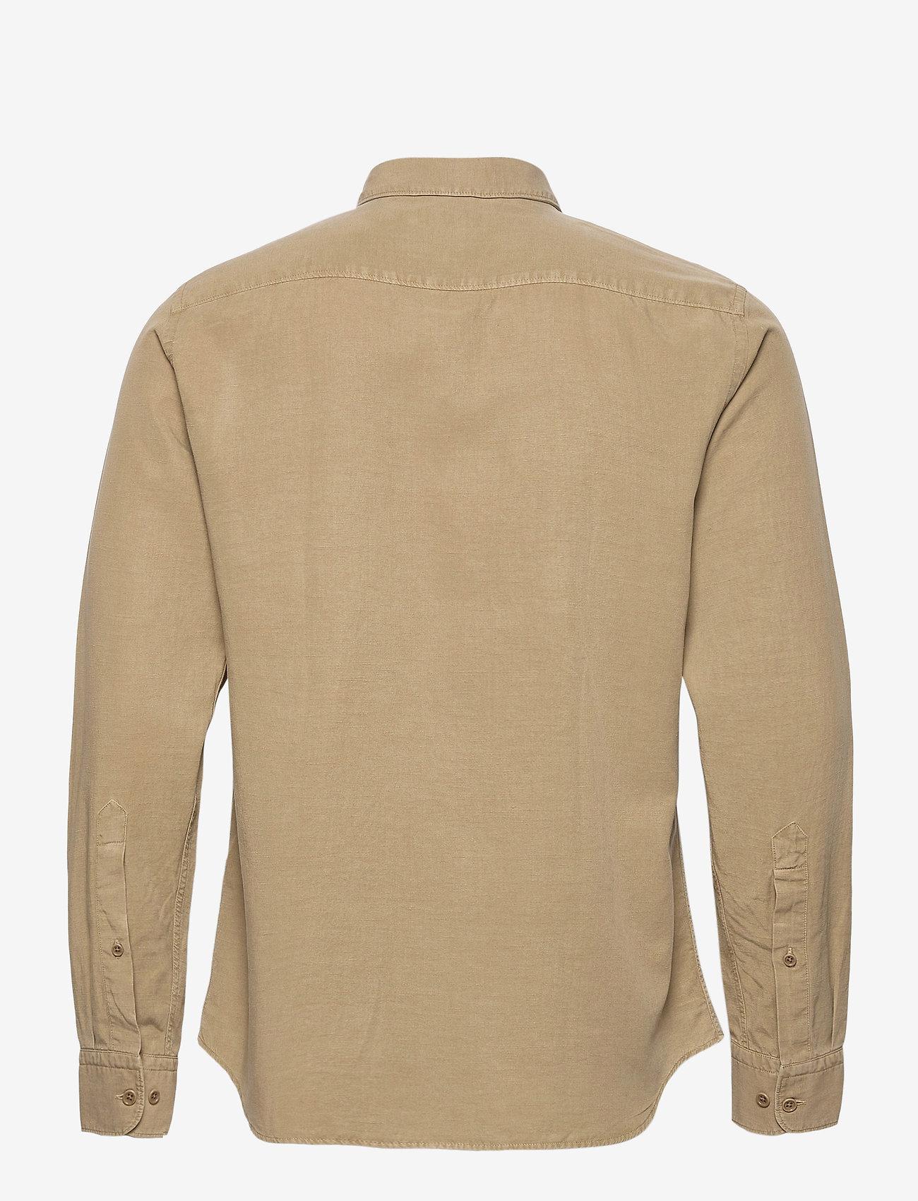 J. Lindeberg Tencel Slub Texture Slim Shirt - Skjorter WOOD BROWN - Menn Klær