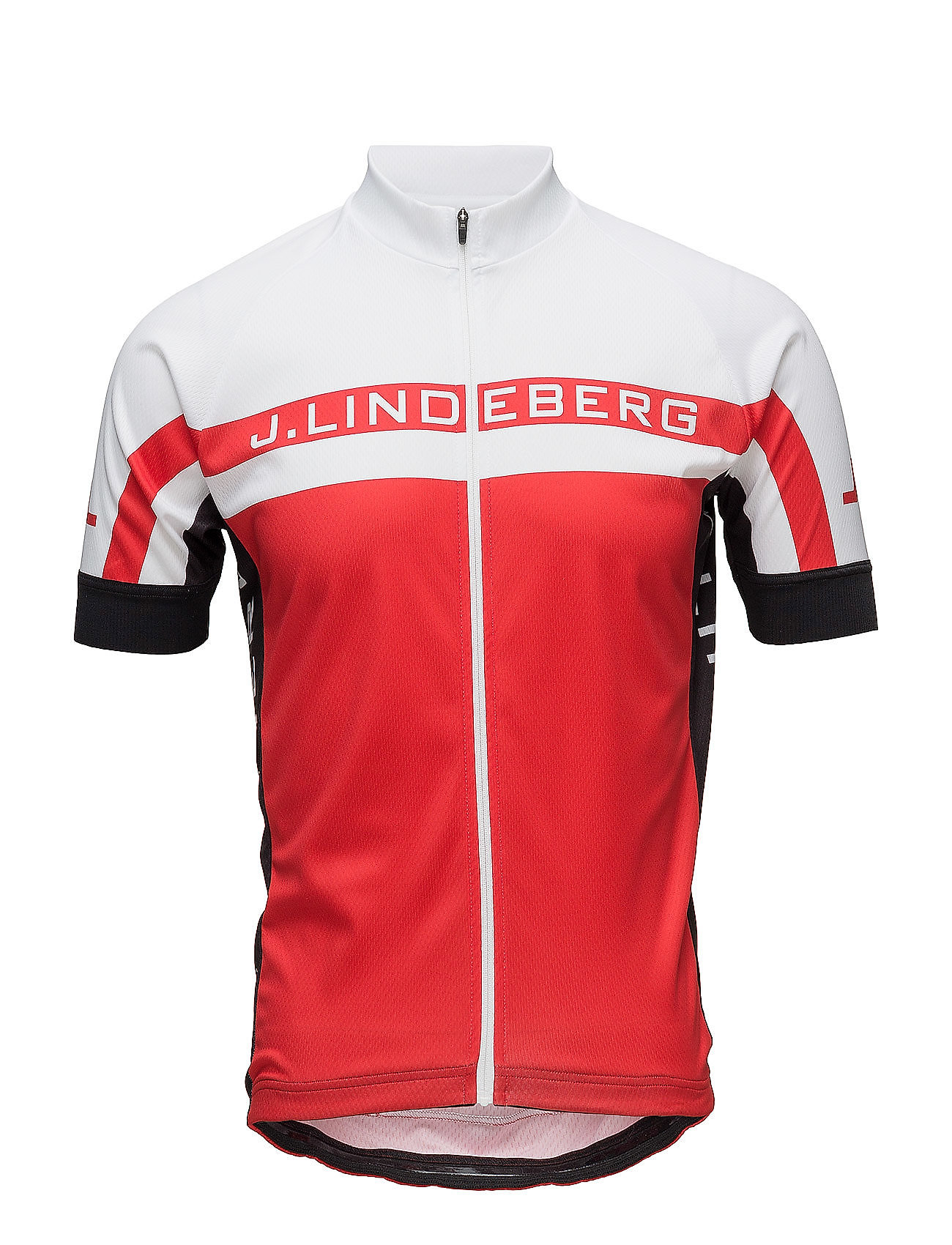 J. Lindeberg M Bike Striped Jersey Pro Poly - RACING RED