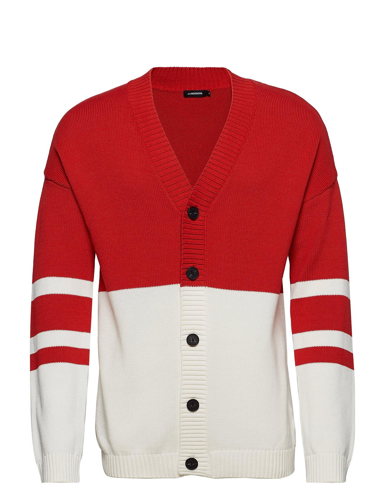 J. Lindeberg Dorian Cardigan Cotton - DEEP RED