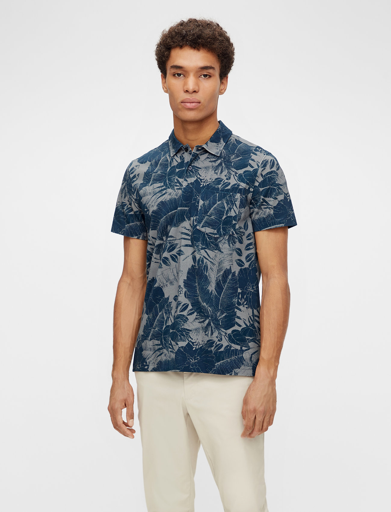 J. Lindeberg - Brand Printed Polo Shirt - kurzärmelig - jl navy - 0