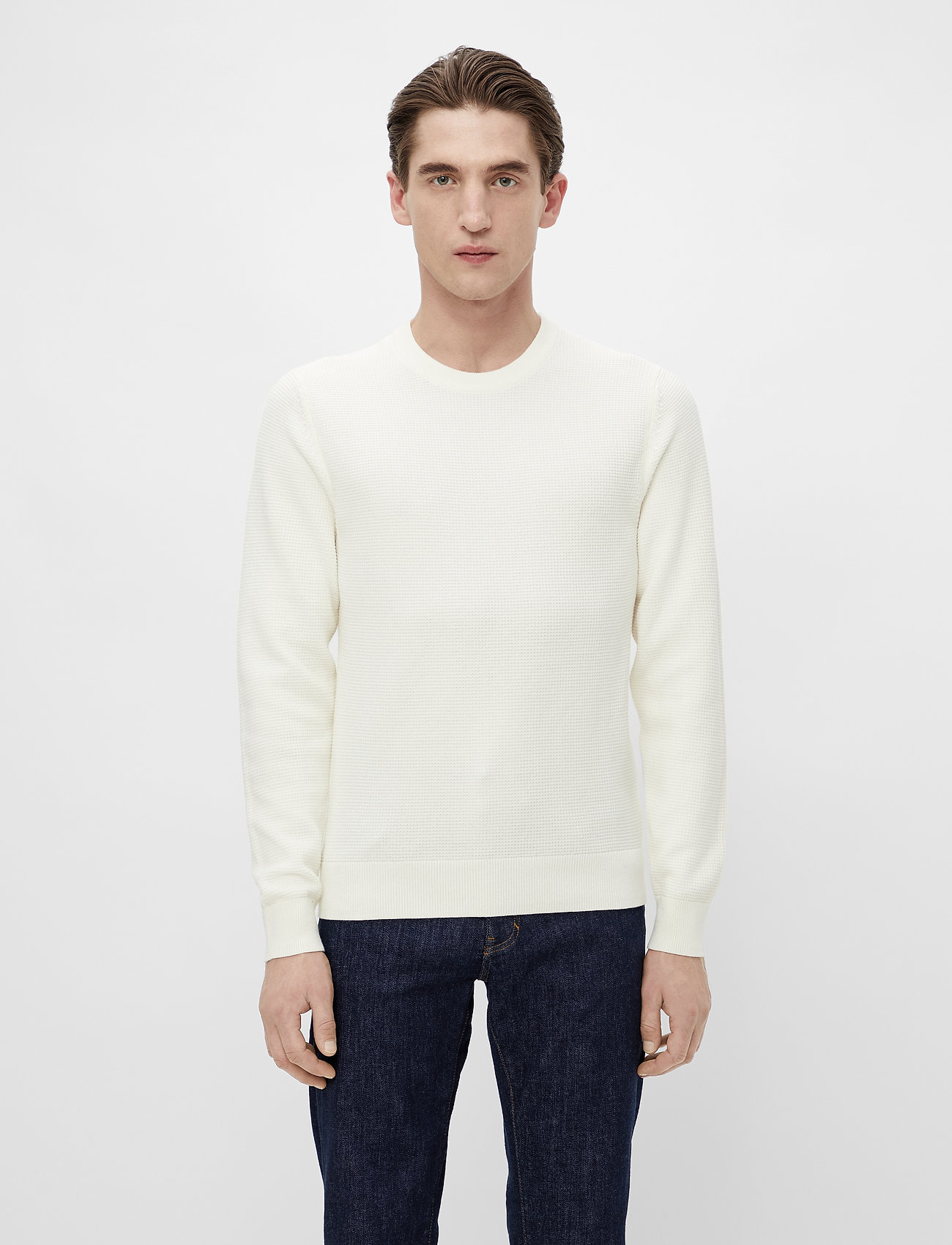 J. Lindeberg - Andy Structure C-Neck Sweater - basic-strickmode - cloud white - 0