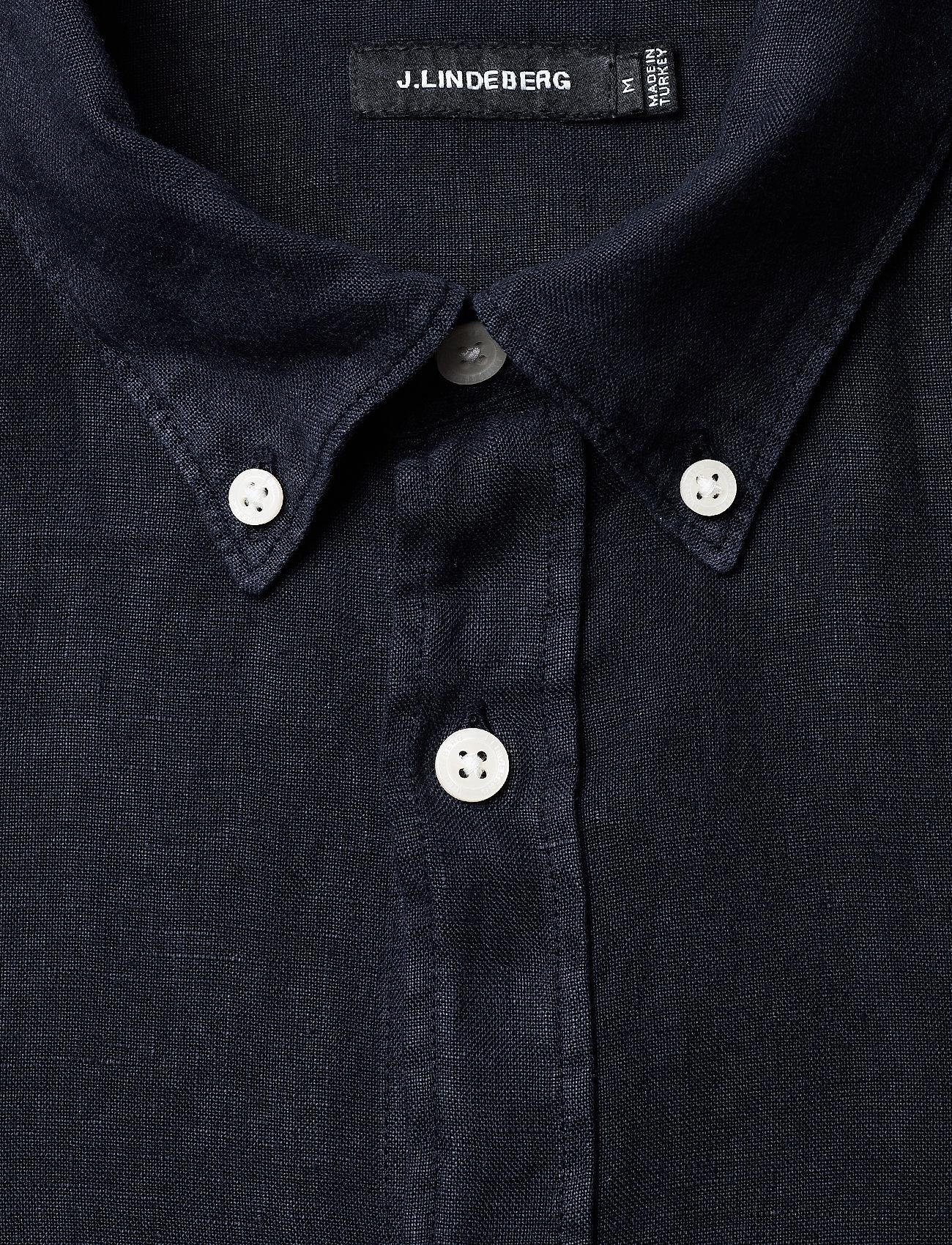 J. Lindeberg - Fredrik BD SS-Clean Linen - chemises basiques - jl navy - 1