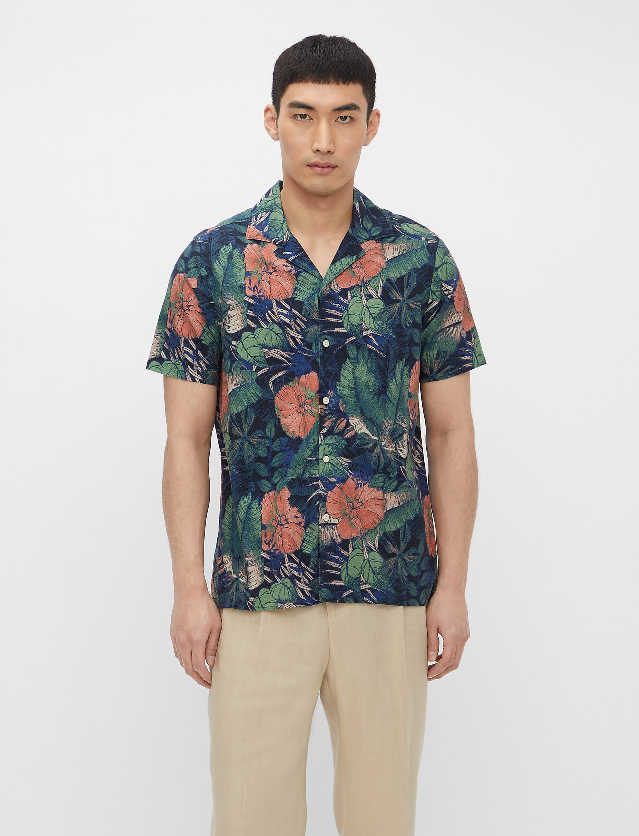 J. Lindeberg - Seasonal Print SS Resort Shirt - leinenhemden - black - 0