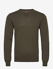 J. Lindeberg - Lymann Merino V-Neck Sweater - v-ausschnitt - moss green - 0