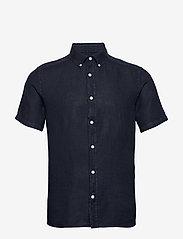 J. Lindeberg - Fredrik BD SS-Clean Linen - chemises basiques - jl navy - 0