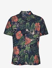 J. Lindeberg - Seasonal Print SS Resort Shirt - leinenhemden - black - 1