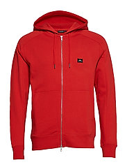 Throw Zip Hood Ring loop sweat - DEEP RED